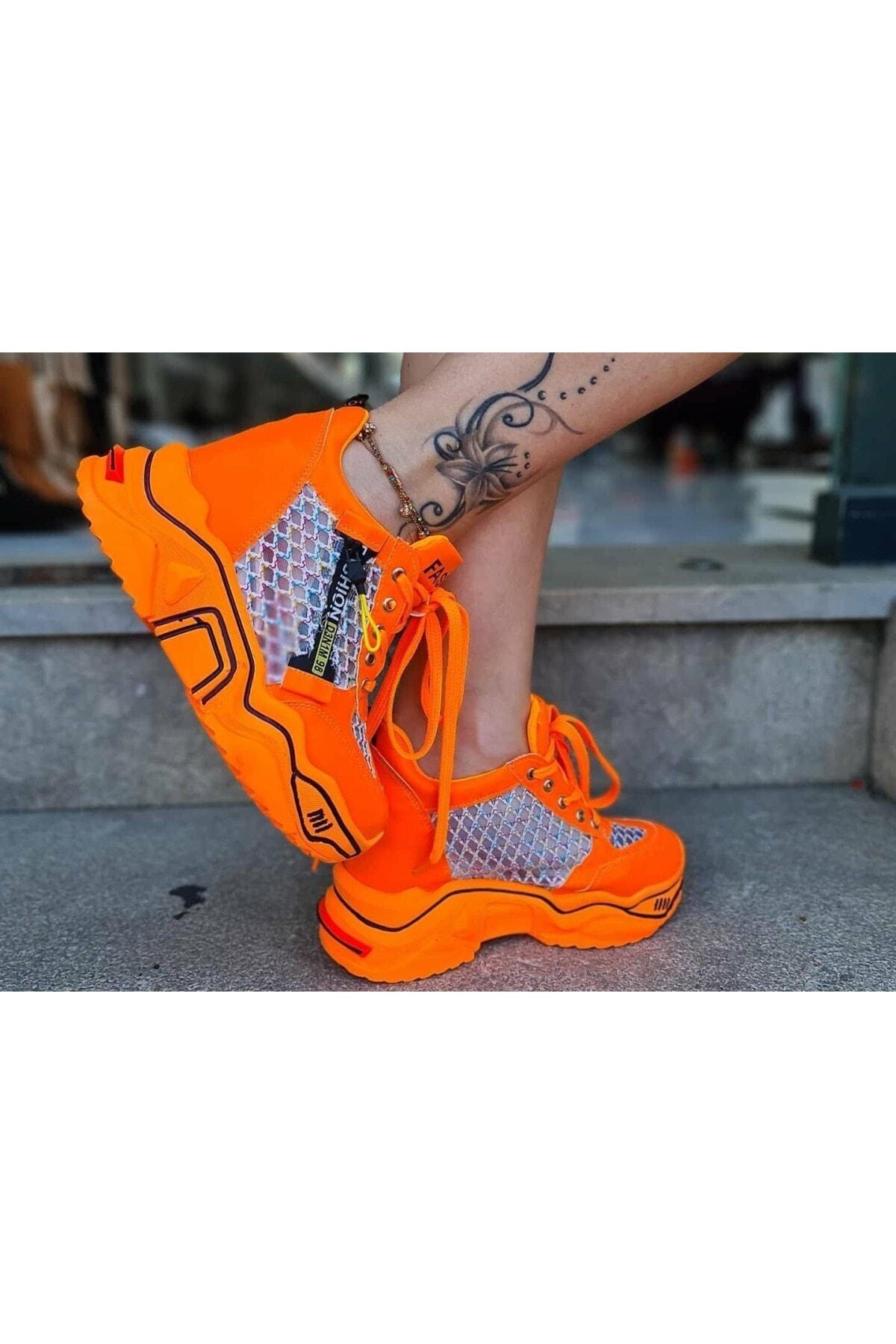 CassidoShoes Anatomik Dolgu Taban Neon Oranj Kadın Spor Ayakkabı 2