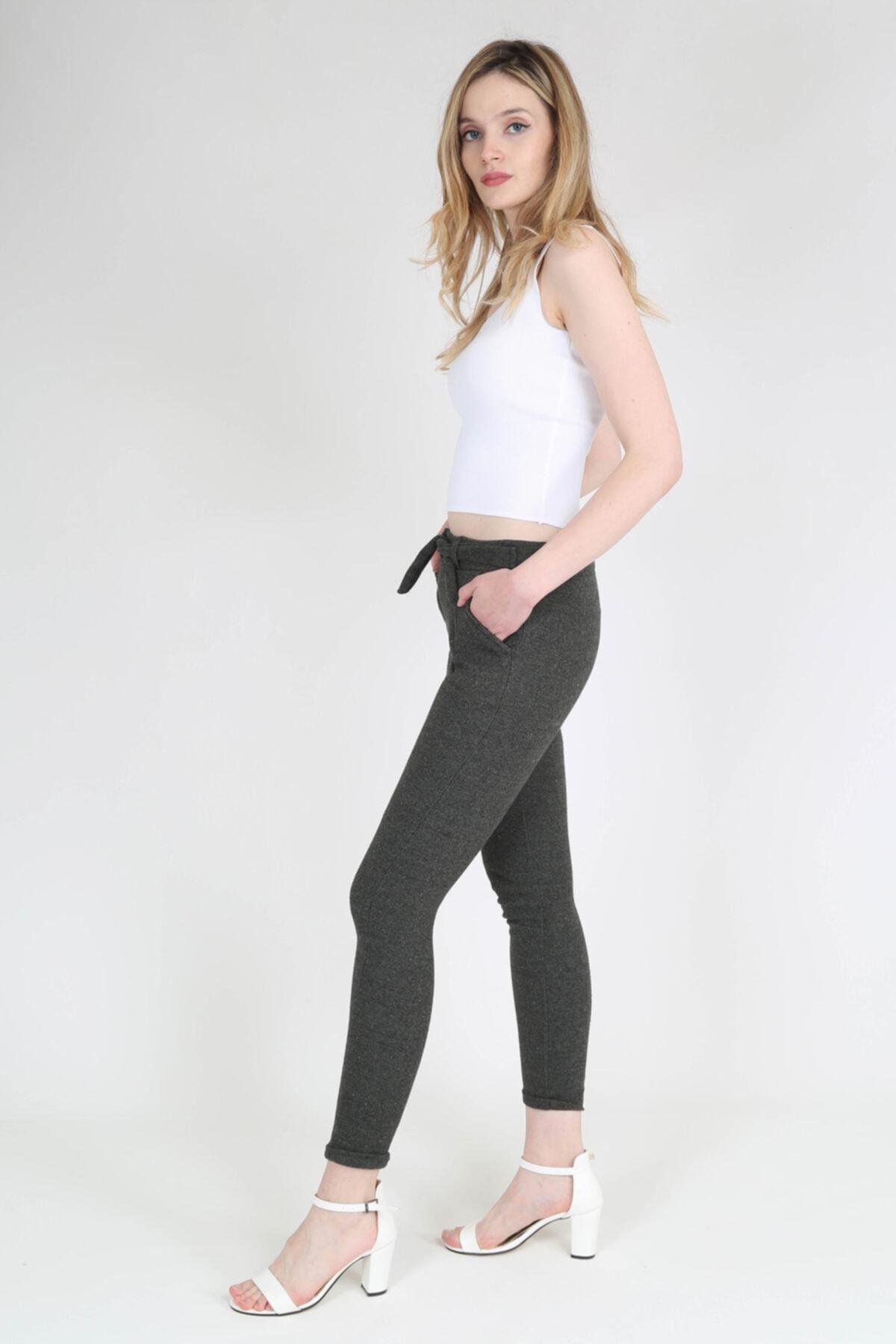 rubbyrush Kadın Haki Kuşaklı Pantolon - Rb0126 2