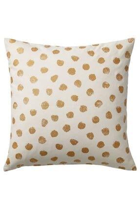 IKEA Minder Kılıfı Meridyendukkan Beyaz-altın Renk 50*50 Pamuk Yastık Kılıfı , Kırlent Kılıfı