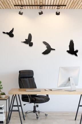 evdeucuz Dekoratif Modern Dörtlü Kuş Duvar Süsü Duvar Dekoru