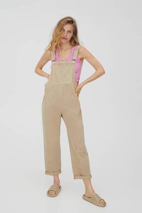 Pull & Bear Kadın Kavruk Renk Uzun Oversize Denim Salopet Tulum