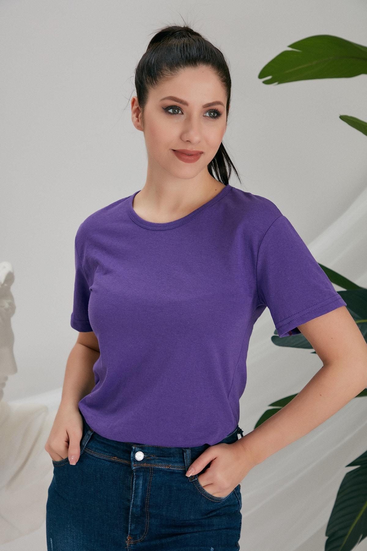 CATSPY Kadın Mor Basic Tshirt 2