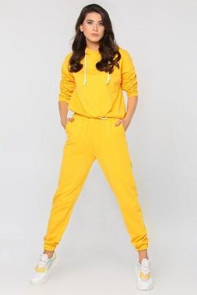 julude Kadın Sarı Kapüşonlu Bel Büzgülü Eşofman Takımı