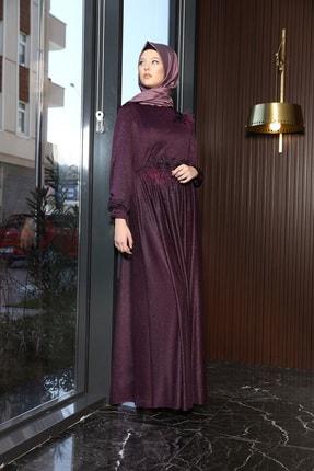julude Kadın Mor Dantel Tüylü Simli Abiye Elbise