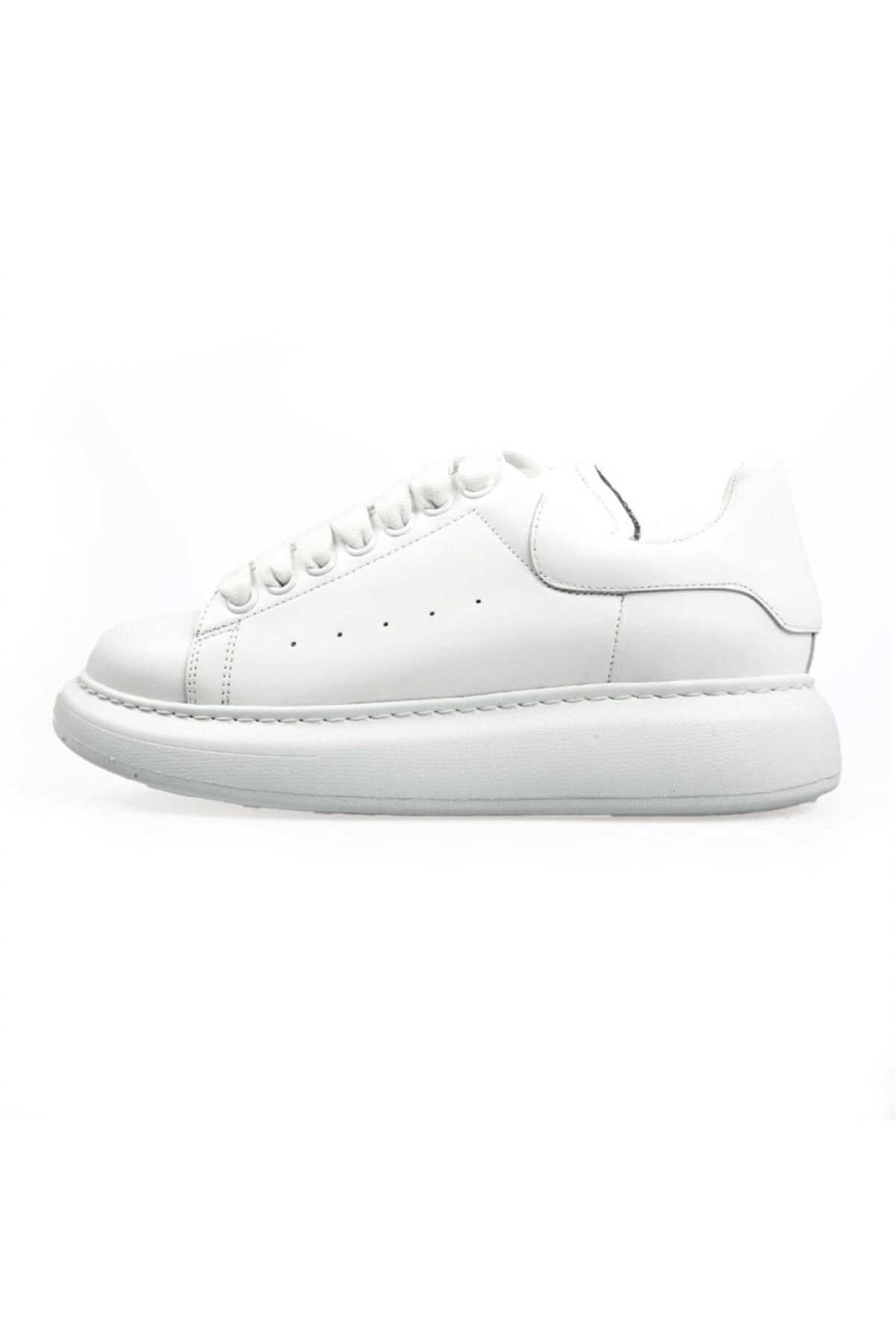 Flower Kadın Beyaz Deri Yüksek Tabanlı Spor Ayakkabı 1