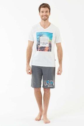 U.S. Polo Assn. Erkek Ekru T-shirt Şort Takım