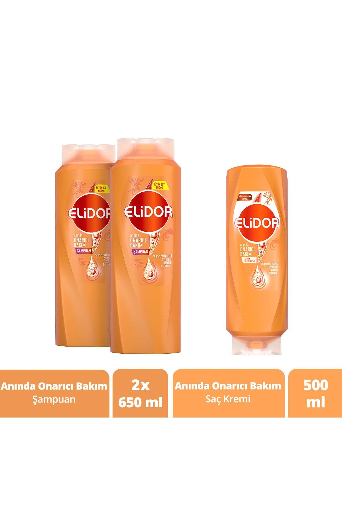Elidor Anında Onarıcı Bakım Şampuan 650 ml X2 + Anında Onarıcı Bakım Saç Kremi 500 ml 1