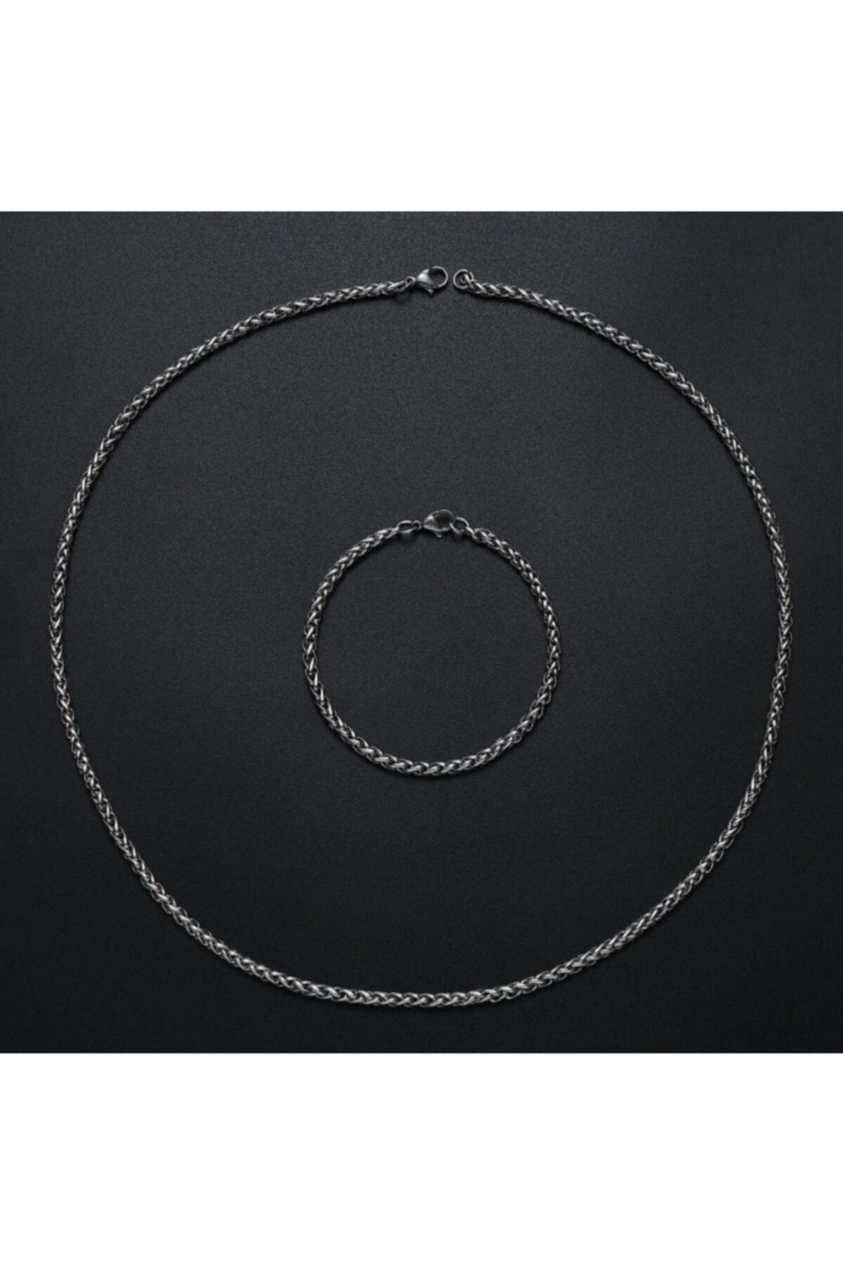 MedBlack Jewelry Unisex Gümüş Kaplama Sarmal Kılçık Kolye Bileklik 2'li Set 2