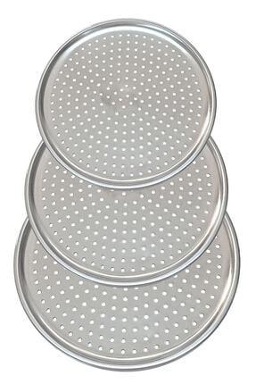 Vipkitchen 3'lü Set Lüx Çelik Delikli Pizza Tepsisi 28-31-36 Cm