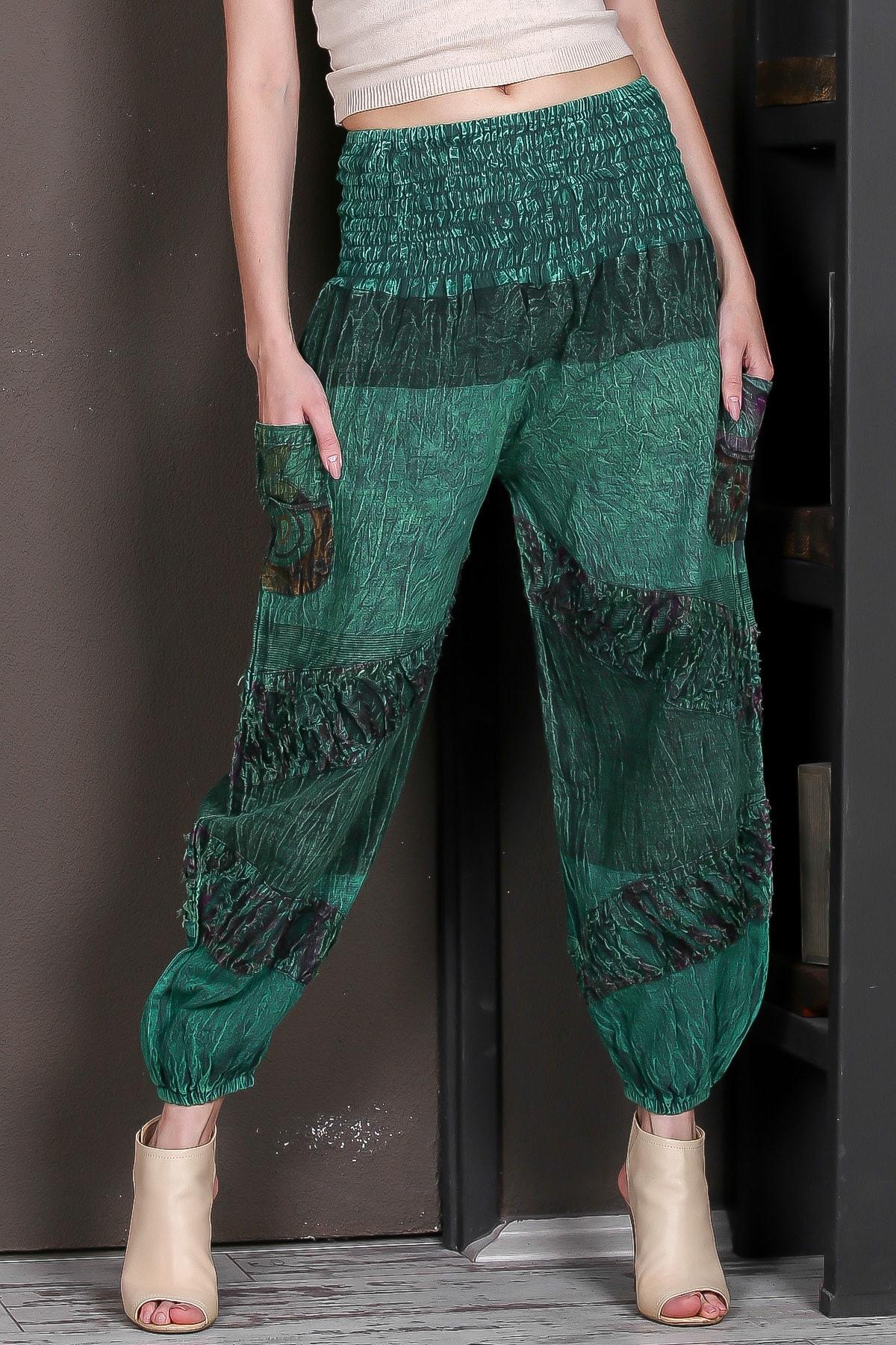 Chiccy Kadın Yeşil Beli Gipeli Cepli Bloklu Yıkamalı Dokuma Şalvar Pantolon M10060000PN98889