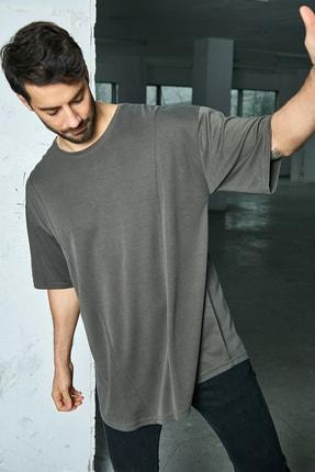 Sateen Men Erkek Koyu Haki B Yaka Likralı T-Shirt