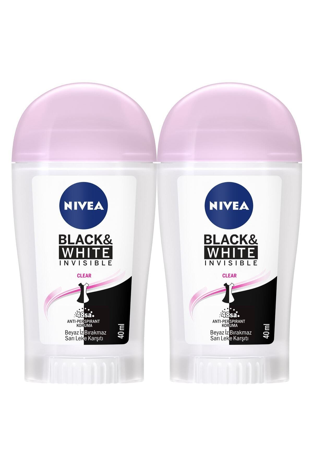 Nivea Invisible Black & White Kadın Deodorant Stick 40 ml  2'Li 1