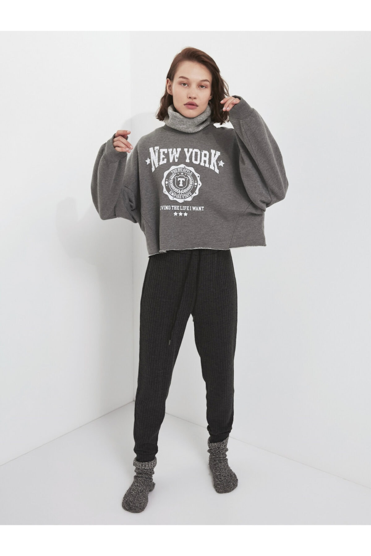 Twist Slogan Baskılı Sweatshirt 1