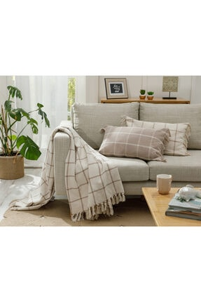 English Home Elegant Lines Pamuk Polyester Koltuk Şalı 130x170 Cm Bej