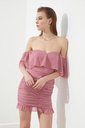 TRENDYOLMİLLA Gül Kurusu Kumaş Özellikli Elbise TPRSS21EL1443