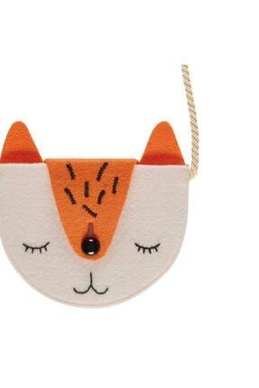 The Soft Concept Omuz – Askılı Keçe Çanta – Kedi Turuncu – Beyaz