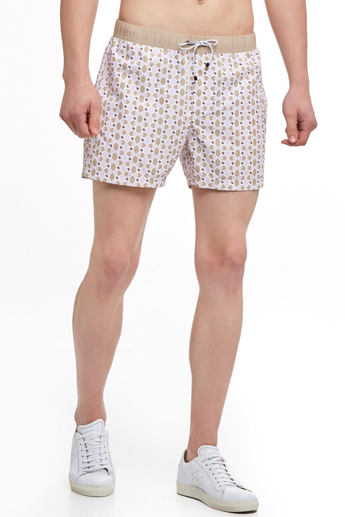 Hemington Erkek Pembe Heksagonal Desenli Şort Mayo 2