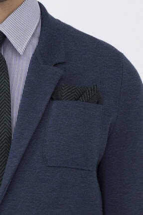 Hemington Erkek Ipek Yün Koyu Yeşil Örgü Ceket Mendili