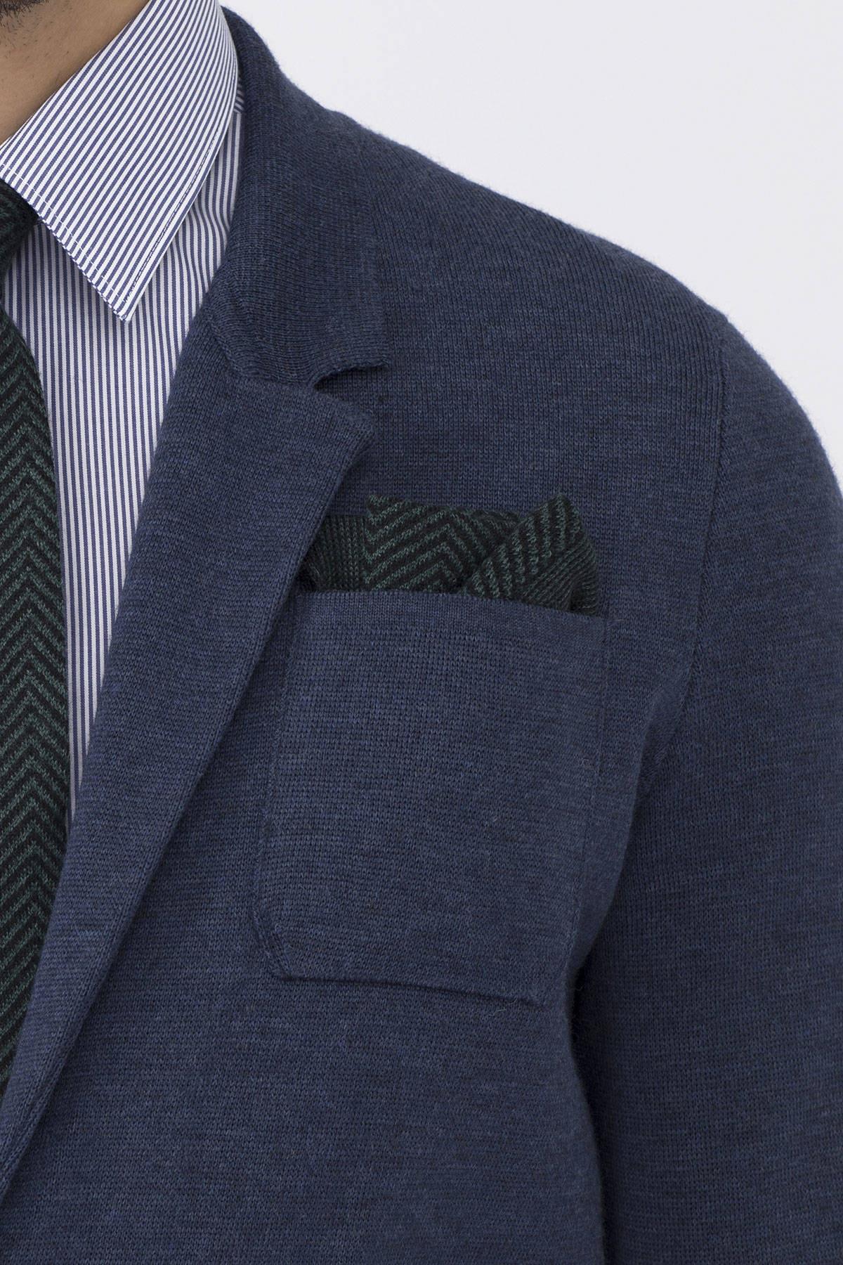 Hemington Erkek Ipek Yün Koyu Yeşil Örgü Ceket Mendili 1