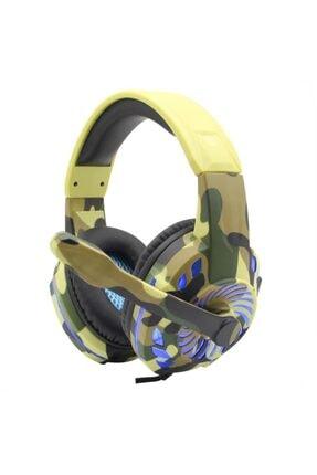 Komc Kahverengi Askeri Desenli Profesyonel Telefon Gaming Led Pc/ps4/xbox Uyumlu Oyuncu Kulaklığı