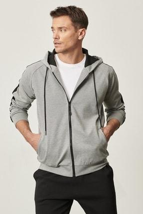 AC&Co / Altınyıldız Classics Erkek Gri-Siyah Slim Fit Günlük Rahat Kapüşonlu Spor Fermuarlı Sweatshirt