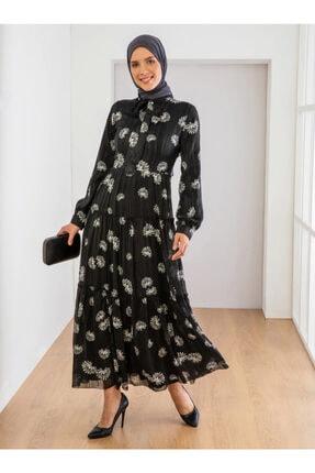 Loreen Kadın Ekru Siyah Çiçek Desenli Elbise