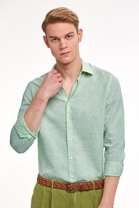 Hemington Erkek Mint Yeşil Saf Keten Gömlek