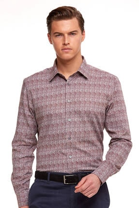 Hemington Erkek Bordo Baskılı Business Gömlek