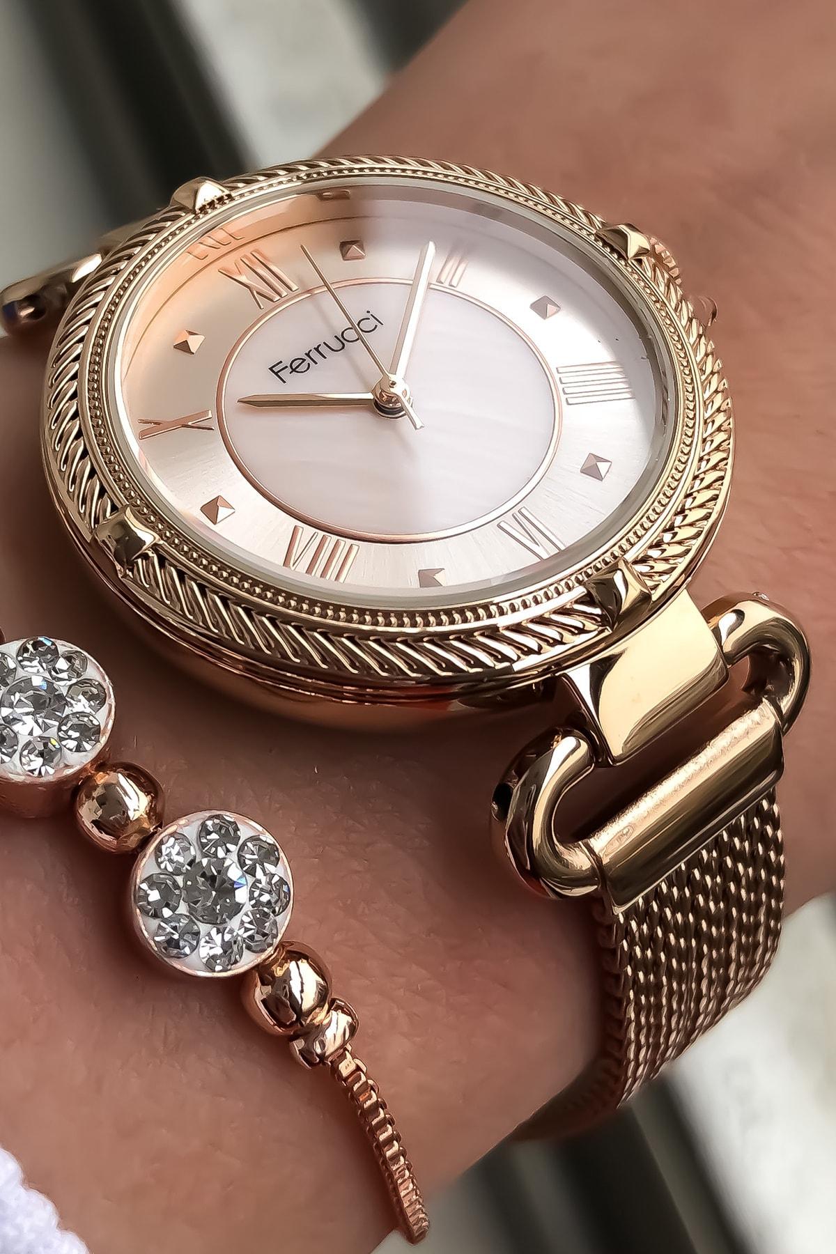 Ferrucci Kadın Kol Saati + Bileklik Hediye 1