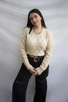 All Women & Men Bej Örgü Detaylı Triko Kazak