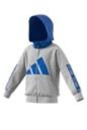 adidas Unisex Çocuk Gri Mavi Kapüşonlu Eşofman Üstü Lb Ur Ft Kn Hd2 Fn0926