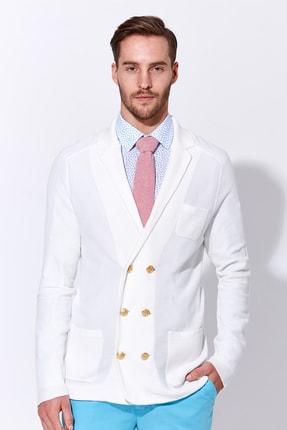 Hemington Erkek Giza Pamuk Beyaz Triko Kruvaze Ceket