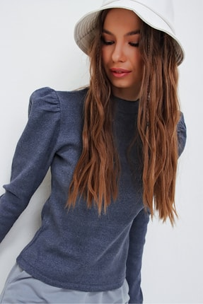 Trend Alaçatı Stili Kadın İndigo Prenses Kol Yarım Balıkçı Şardonlu Crop Bluz ALC-X5042