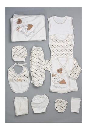 Bombinoo Unisex Bebek Beyaz Real 26 Tavşan Resimli 11li Yenidoğan Hastane Çıkış Seti