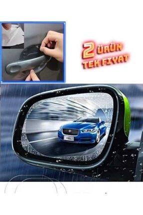 andela Oto Yan Ayna Yağmur Kaydırıcı Film (çiftli) Ve Araba Kapı Kolu Koruyucu Film (4lü Set)
