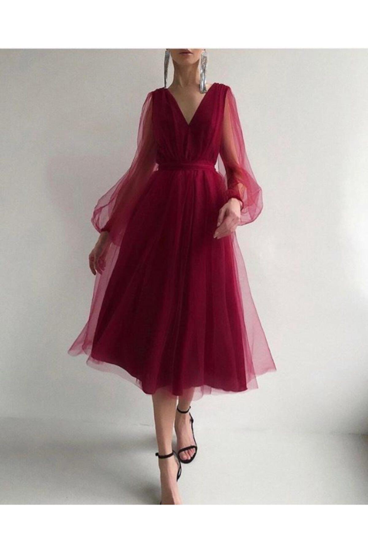 Ahsenserra Francesca Midi Tül Elbise 1