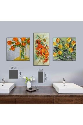 hanhomeart Çiçek Tablo 3 Parça Mdf Tablo 3yty-00518