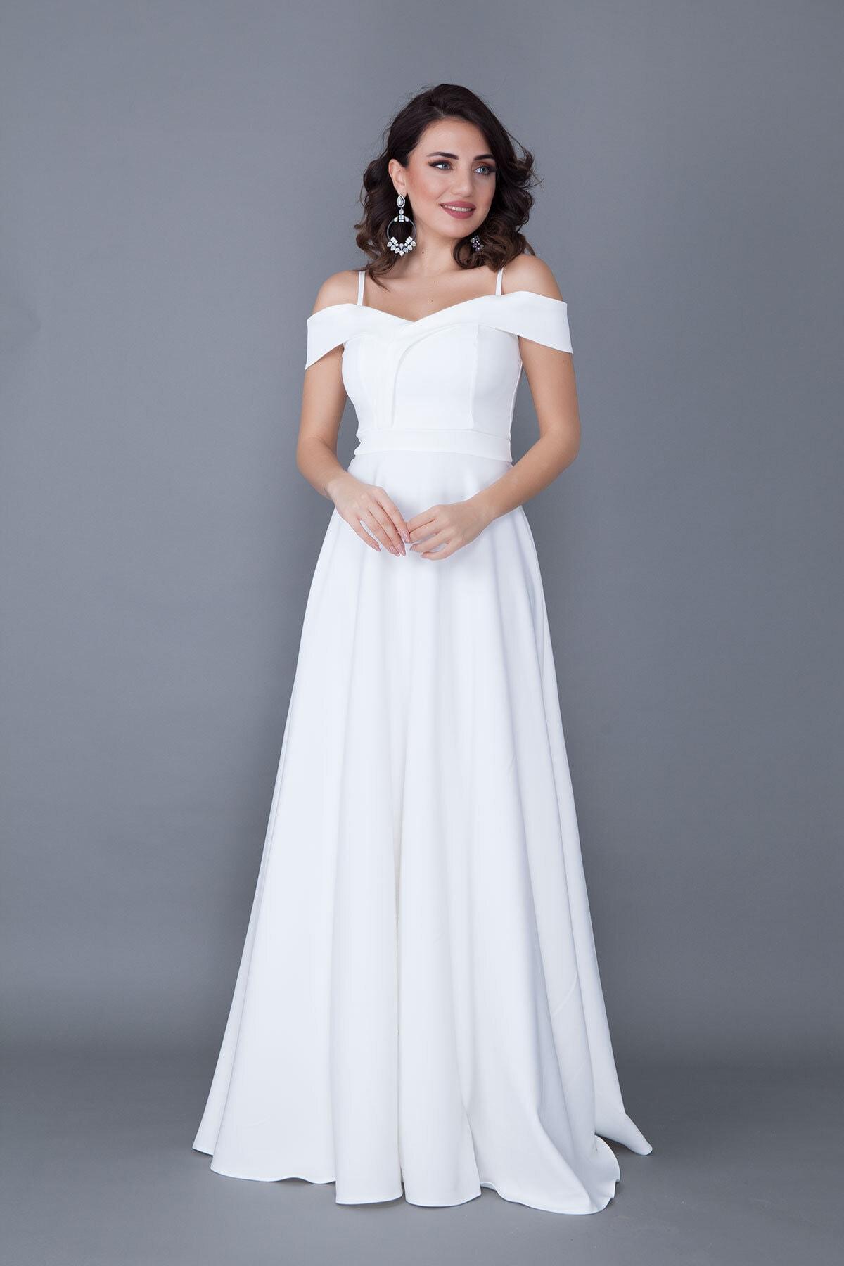 Bidoluelbise Kadın Beyaz Askılı Düşük Omuz Detay Maxi Boy Abiye Elbise 1