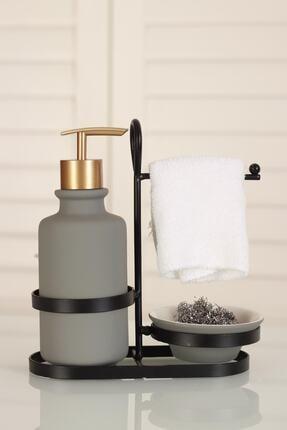 ACAR Dense Metal Standlı Seramik Mat Sıvı Sabunluk - Gri