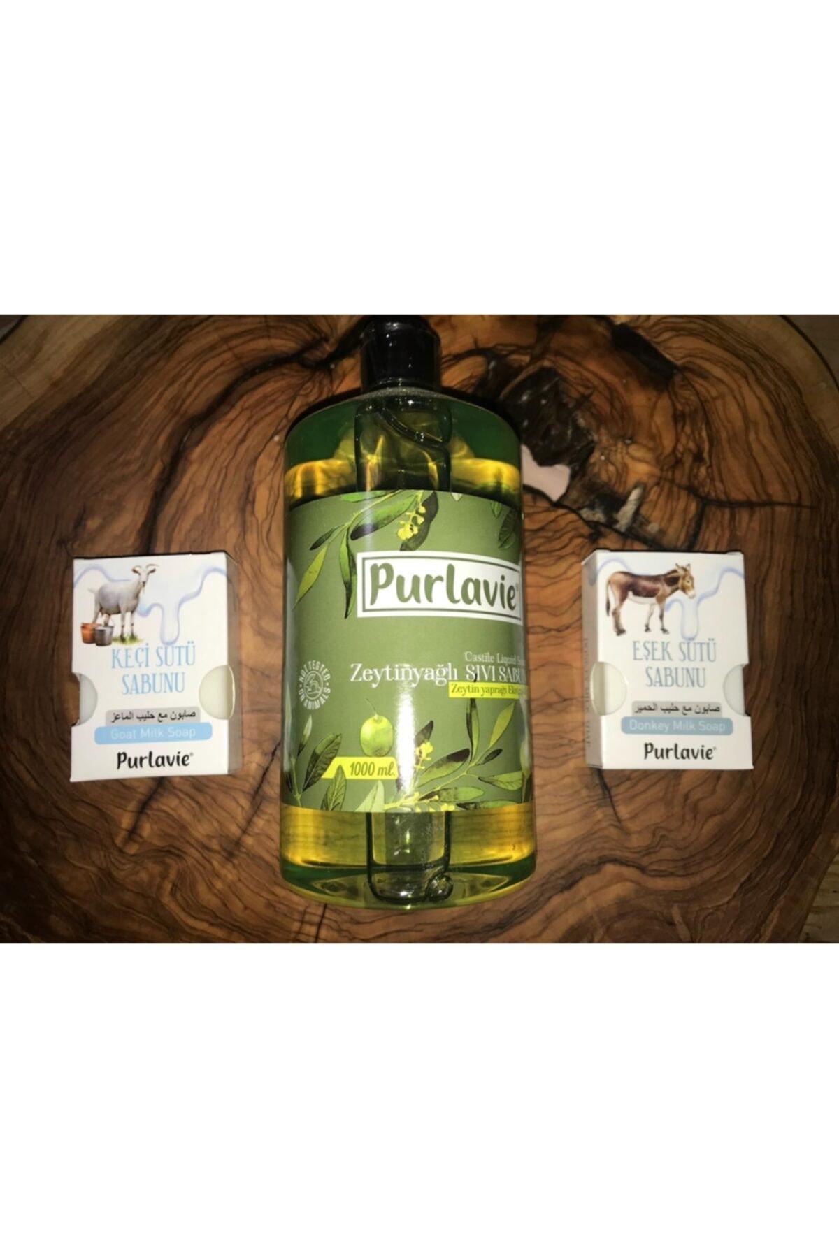 Kale Naturel 3 Lü Paket - Zeytinyağlı Sıvı Sabun (1000 Ml) Keçi Sütü (100 Gr) Eşek Sütü (100 Gr) 1