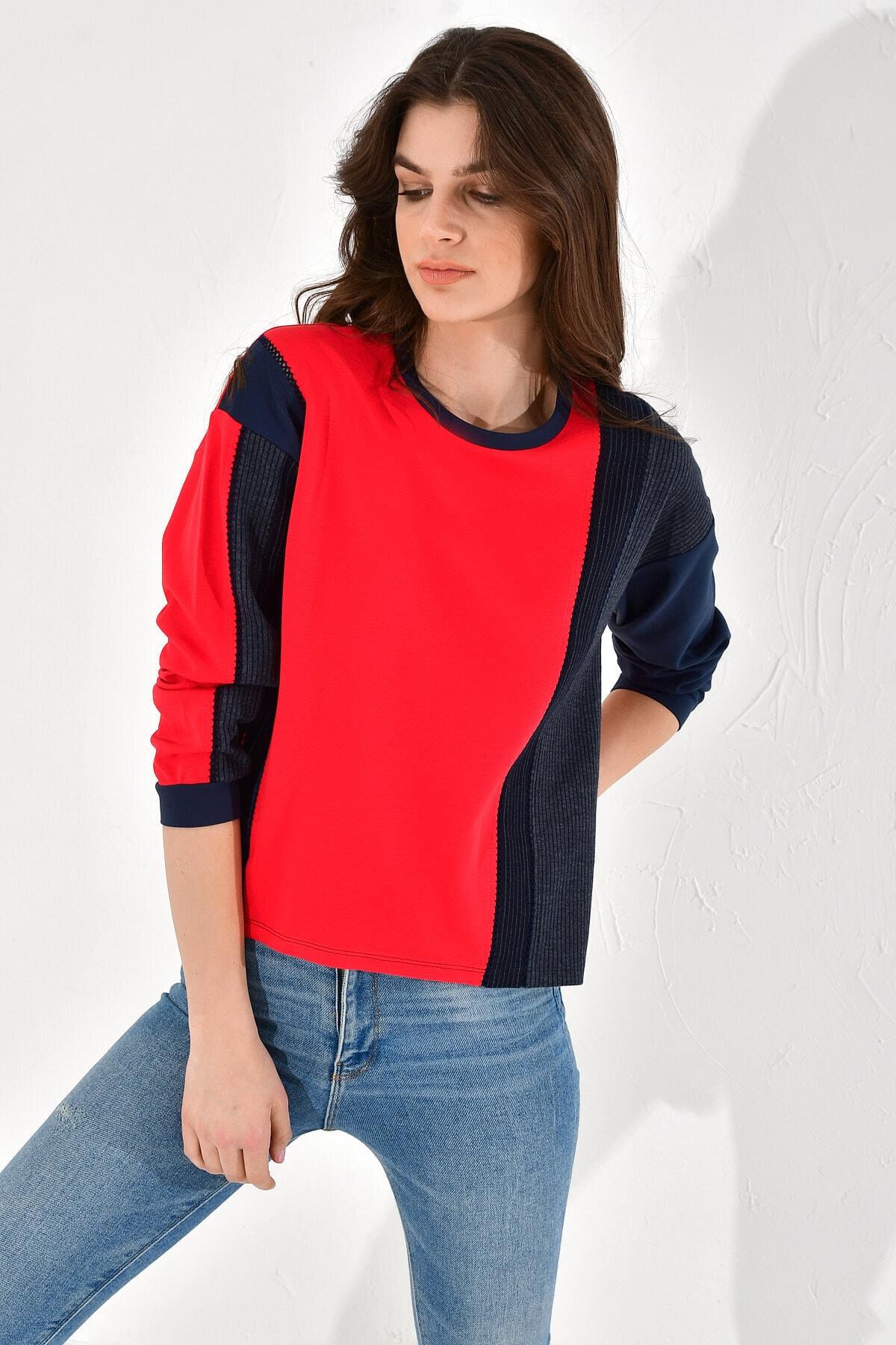 Hanna's by Hanna Darsa Kadın Çizgili Ve Düz Renk Bloklu Sweatshirt 1