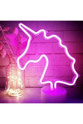Keskin Hediyelik Neon Unicorn Işıldak Led Işıklı Aydınlatma Dekoratif Masa Lambası Abajur