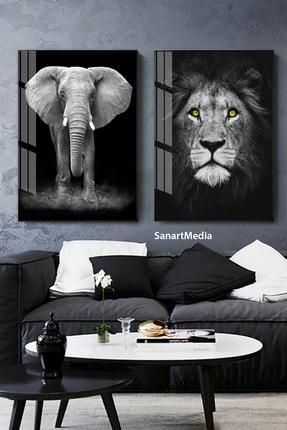 Sanat fotoğraf 2'li Fil Aslan Hayvan Çerçeveli Camlı Tablo Seti Poster Duvar Dekor Salon Oturma Odası