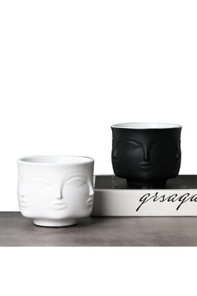 collection77 Dora Maar Musa Çok Yüzlü Beton Saksı&vazo 2'li Set (siyah-beyaz)