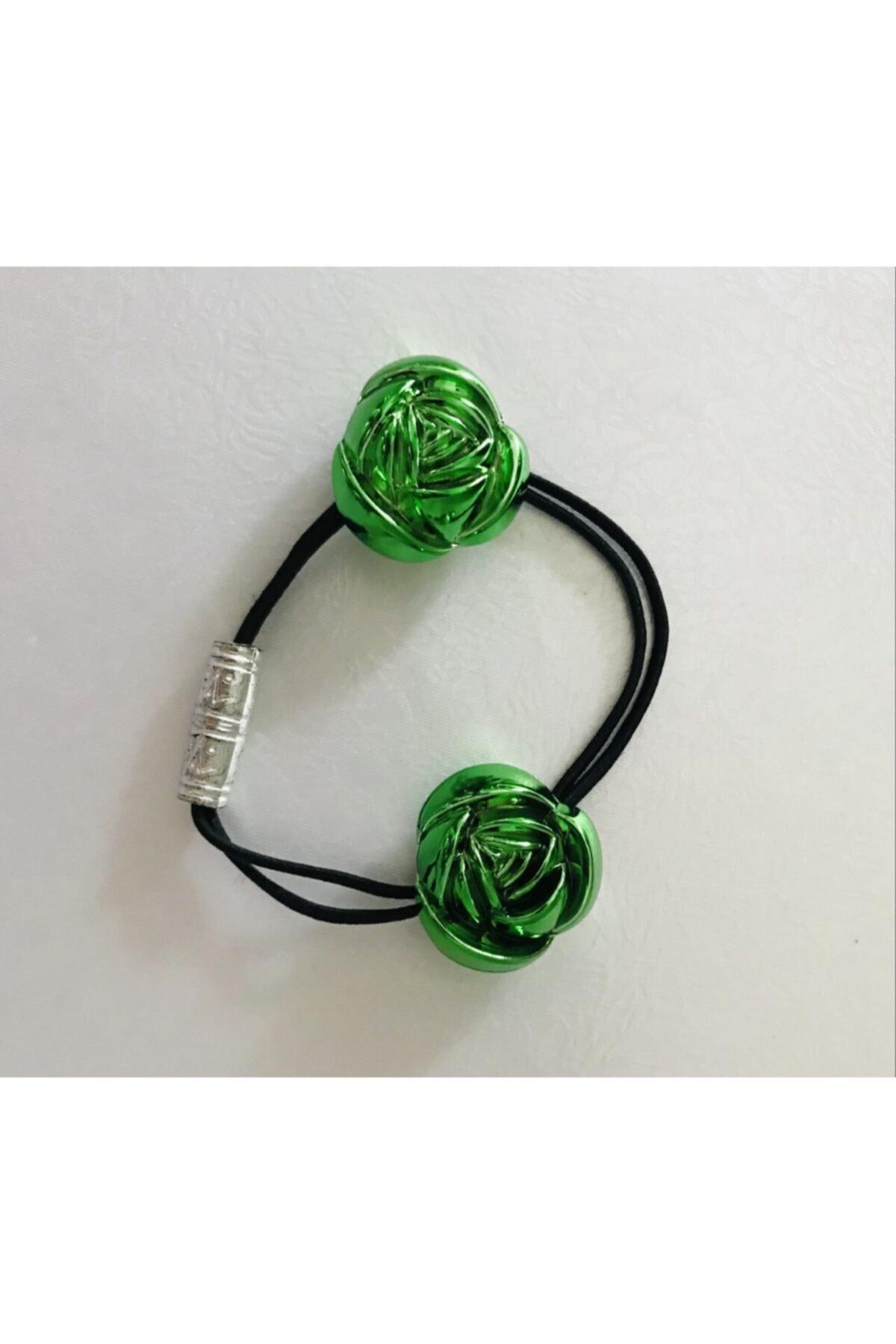 Mima Güllü Neon Yeşil Çocuk Lastik Toka 2