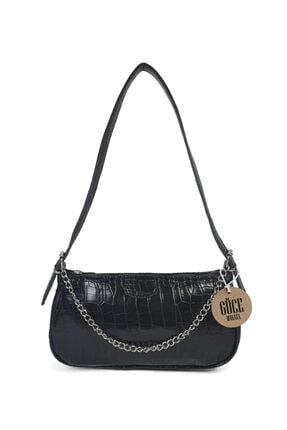 Güce Kadın Siyah Kroko Desenli İnce Zincirli Baget Çanta Gc011500k