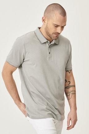 ALTINYILDIZ CLASSICS Erkek Gri Düğmeli Polo Yaka Cepsiz Slim Fit Dar Kesim Düz Tişört