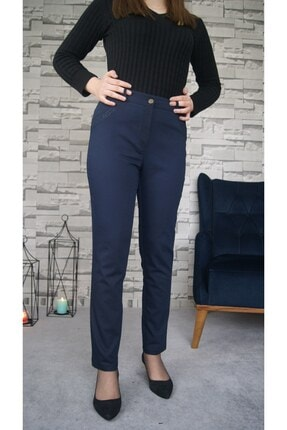 Zena Moda Kadın Lacivert Cep Taş Detaylı Likralı Pantolon