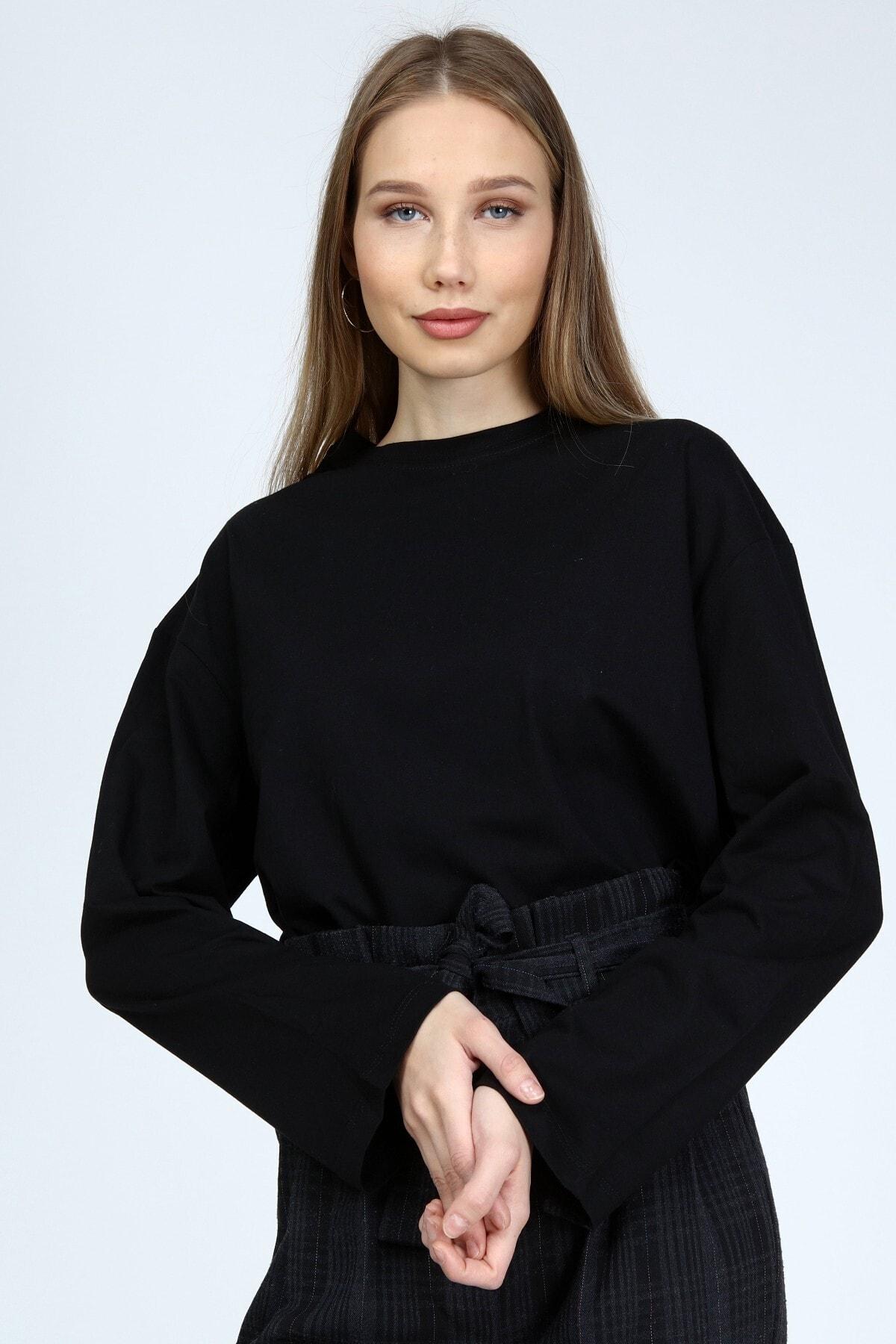 BASICA Kadın Siyah Uzun Kollu Bisiklet Yaka Basic Oversize T-shirt 2