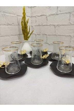 Limyacam 6 Kişilik Mat Sade Özel Tasarım Japon Çiçeği Çay Seti